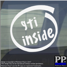 1 x GTI Inside-Window,Car,Van,Sticker,Sign,Vehicle,VW,Turbo,Volkswagen,Speed,Fast